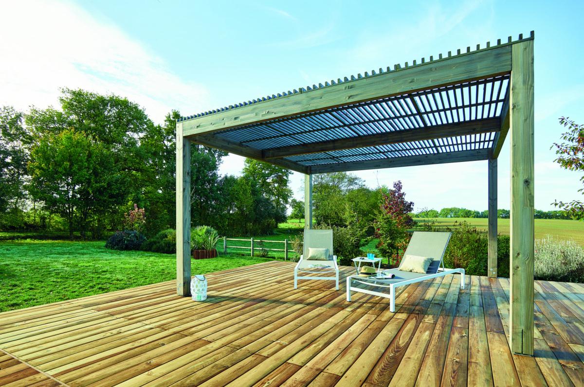 Pergola bois toiture fixe | pour votre terrasse, plage de piscine